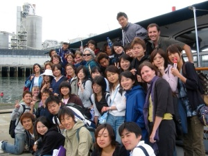 International District's Project WILD Youth Group on a DRCC-hosted boat tour of the Duwamish River Superfund Site (Courtesy DRCC)